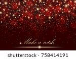 vector gold glitter particles... | Shutterstock .eps vector #758414191