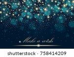 vector gold glitter particles... | Shutterstock .eps vector #758414209