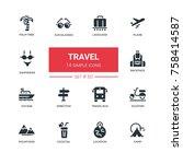 travel   line design icons set. ... | Shutterstock .eps vector #758414587