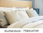 closeup row of pillows on bed ... | Shutterstock . vector #758414749