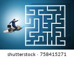 uncertainty concept with... | Shutterstock . vector #758415271