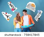 young couple choosing country... | Shutterstock . vector #758417845