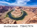 horseshoe bend is a famous... | Shutterstock . vector #758417974