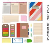 diary  blank papers  notepad... | Shutterstock .eps vector #758419141