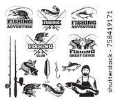 vintage labels set for fishing... | Shutterstock .eps vector #758419171