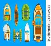 speed motor boat  sea ship ... | Shutterstock .eps vector #758419189