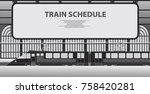 railway platform with a...   Shutterstock .eps vector #758420281