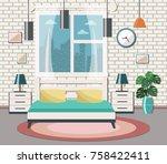 bedroom interior. flat design...   Shutterstock .eps vector #758422411