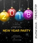 vector new year poster template ... | Shutterstock .eps vector #758425759