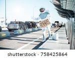 spaceman wearing strange armor... | Shutterstock . vector #758425864