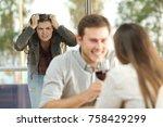 disloyal boyfriend caught by... | Shutterstock . vector #758429299