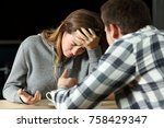 sad teenager crying during a... | Shutterstock . vector #758429347