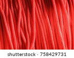 roll texture of red nylon rope | Shutterstock . vector #758429731