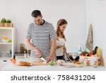 people and healthy eating... | Shutterstock . vector #758431204