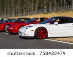 Small photo of Victoria BC Canada Aug 27 2017 : Exotic import motorcars are on display at the Annual Vancouver Island Motor Gathering. These imports are all fully restored for the line up.