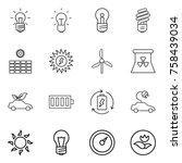 thin line icon set   bulb  sun... | Shutterstock .eps vector #758439034