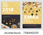 christmas and happy new year... | Shutterstock .eps vector #758440255