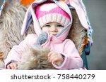 cute little beautiful baby girl ... | Shutterstock . vector #758440279