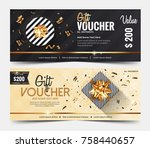 gift voucher template or... | Shutterstock .eps vector #758440657