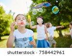 girls blow fragile soap bubbles ... | Shutterstock . vector #758442961