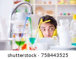 man frustrated at having to... | Shutterstock . vector #758443525