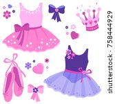 vector illustration set of cute ... | Shutterstock .eps vector #758444929