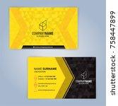 business card template. yellow... | Shutterstock .eps vector #758447899