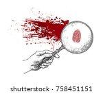 hand holding magnifying glass... | Shutterstock .eps vector #758451151