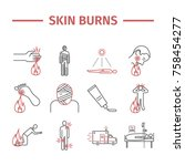skinl burns line icons....   Shutterstock .eps vector #758454277