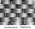 pyramid tower of the coins... | Shutterstock . vector #75845476