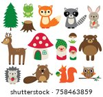 woodland animals  isolated... | Shutterstock .eps vector #758463859