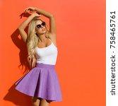 blond beautiful woman in... | Shutterstock . vector #758465761