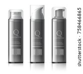 realistic cosmetic bottle can... | Shutterstock .eps vector #758466865