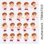 cartoon character boy in a... | Shutterstock .eps vector #758467315