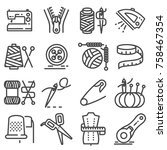 simple set of sewing related... | Shutterstock .eps vector #758467354