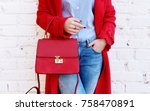 closeup of red small bag in... | Shutterstock . vector #758470891