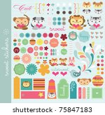 scrapbook elements with a lot... | Shutterstock .eps vector #75847183