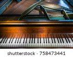 vintage piano keyboard  ... | Shutterstock . vector #758473441