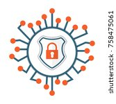 cyber security icon. shield... | Shutterstock .eps vector #758475061