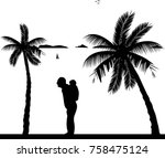 grandfather carrying a child... | Shutterstock .eps vector #758475124