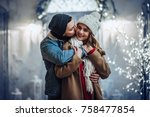 young romantic couple is having ... | Shutterstock . vector #758477854