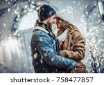 young romantic couple is having ... | Shutterstock . vector #758477857