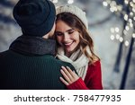 young romantic couple is having ... | Shutterstock . vector #758477935