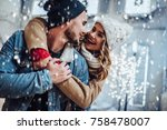 young romantic couple is having ... | Shutterstock . vector #758478007