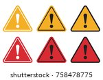 set of triangle caution icons.... | Shutterstock .eps vector #758478775