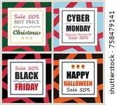 set of holidays sale banner... | Shutterstock .eps vector #758479141