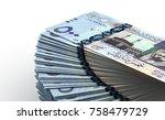 stack of saudi arabian riyals... | Shutterstock . vector #758479729