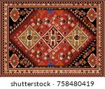 persian carpet  tribal vector... | Shutterstock .eps vector #758480419