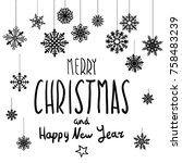 raster copy merry christmas and ... | Shutterstock . vector #758483239