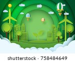 green eco friendly concept... | Shutterstock .eps vector #758484649